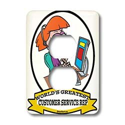 Dooni Designs Worlds Greatest Cartoons - Funny Worlds Greatest Customer Service Rep II Cartoon - Light Switch Covers - 2 plug outlet cover