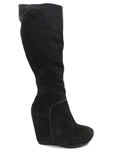 VIC 40 EU stivali zeppa donna nero camoscio KY454
