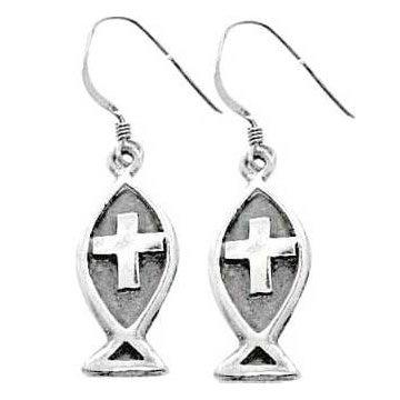 Christian Women's Sterling Silver Ichthus Jesus Fish Dangle Cross Earrings - Purity, Chastity Earrings for Girls