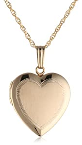 14k Yellow Gold Filled Engraved Heart Locket, 18