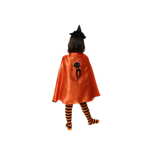 Girls Spooky Black Cat Reversible Orange & Black Witch Cape