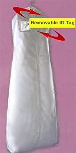 NEW White Wedding Bridal Zipper Dress Breathable Garment Bag + Removable ID Tag