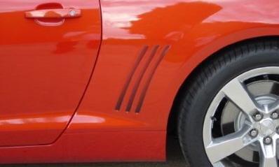 2009-2014 Camaro & SS Black Reflective Vent Gill Side Stripes For Chevy Camaro (Camaro Gill Vent compare prices)