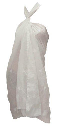 La Leela Designer Sweet-heart Chain Stitched Embroidered White Beach Swim Sarong Pareo Valentine's Day Gift