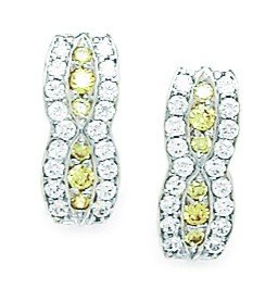 14ct White Gold November Birthstone Yellow CZ Fancy Leverback Earrings - Measures 15x6mm