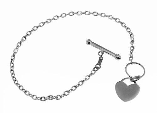 9ct White Gold Heart T-Bar Bracelet 18cm/7