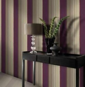 Gran Deco Elise Stripe Wallpaper - Plum from New A-Brend