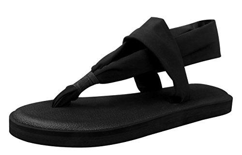 Santiro Pantofole Delle Donne Leggero Scarpa Suola Piatta Con Laccio Dietro Yoga Mat Suola Sandali Infradito SSD001B1-38