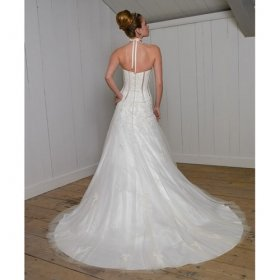 Elegant Empire Line Column Halter Wedding Dress Custom Made