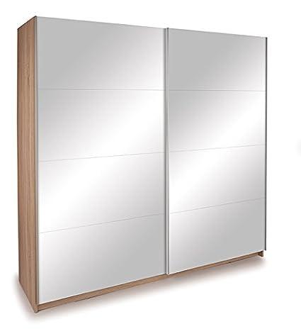 Lyon 2 Door Sliding Wardrobe in Oak - 2M WIDE - Double Mirror Doors W 200cm x D 60cm x H 195cm