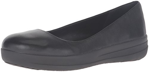 FitFlopTM F-Sporty Ballerina- Women's Loafer Shoes in Black Leather 5.5 Black