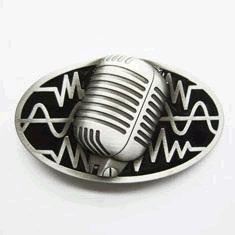 Retro Microphone Belt Buckle Black