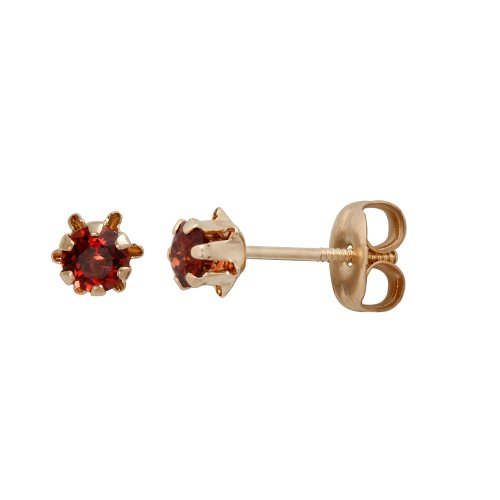 14k Yellow Gold Round Genuine Garnet Children's Buttercup Stud Earrings (3mm )