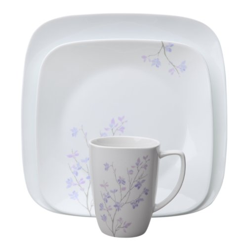Corelle 16-Piece Square Jacaranda Dinnerware Set