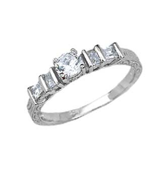 Sterling Silver Rhodium Engagement Ring with Clear CZ - Size: 5-9, 5
