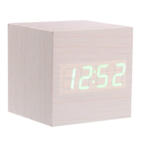 Tinksky 008-12 Mini Cube Shaped Voice Activated Green Led Digital Wood Alarm Clock With Date Temperature Color Ivory