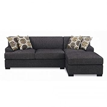 Furniture2go F7446 + F7445 Montereal Ash Black Faux Linen - Reversible Chaise, 2-Seat Sofa, 4 Accent Pillows