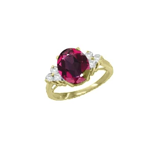 0.92 CT Oval Red Mystic Topaz Diamond Yellow Gold Ring