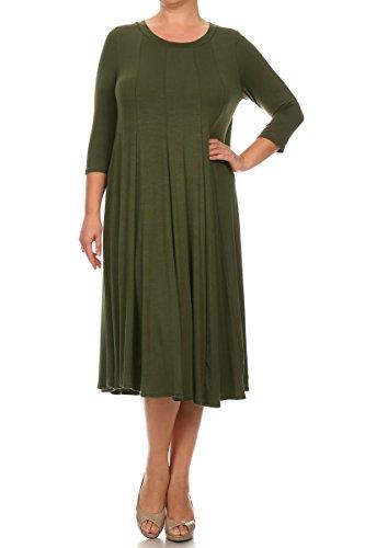 Modern Kiwi Long Sleeve Flowy Maxi Plus Size Dress Olive 4X