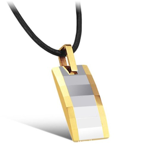 OPK New Fashion Golden Edge Cube And Arc Tungsten carbide Pendant Necklace Best Gift!