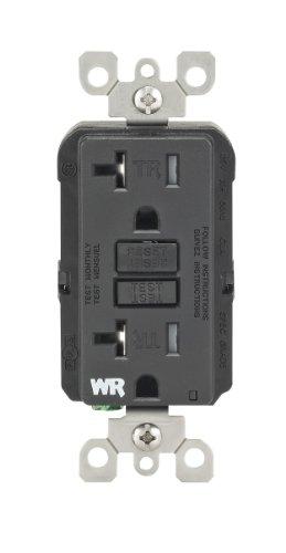 Leviton WT899-E 20-Amp 125-Volt SmartLock Pro Slim Weather-Resistant and Tamper-Resistant GFCI Receptacle, Black