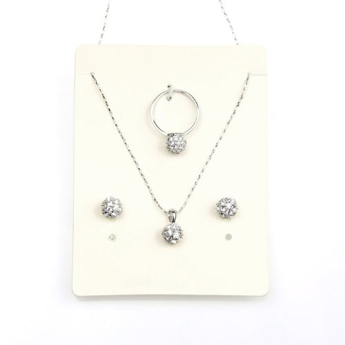 LadyGirl 18K Gold Plated Earrings, Ring and Pendant Set With Rhinestones In Gift Box, Gift Ideas