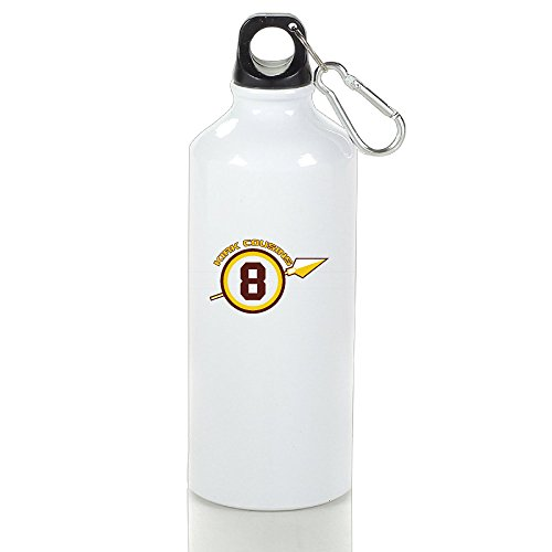 LINNA- Washington #8 Football Player Personalized Aluminum Sports Water Bottle - Metallic Finish With Carabiner Hook