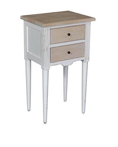 Jeffan Florentine End Table, White