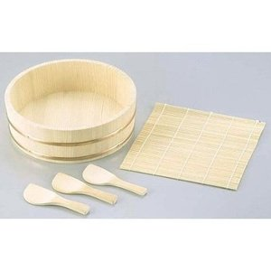 Sushi Oke Wooden Hangiri Bamboo Mat Rice Paddle Set #Cd-480