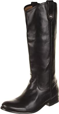 FRYE Women's Melissa Button Boot, Black Wide Calf Smooth Vintage Leather, 5.5 M US