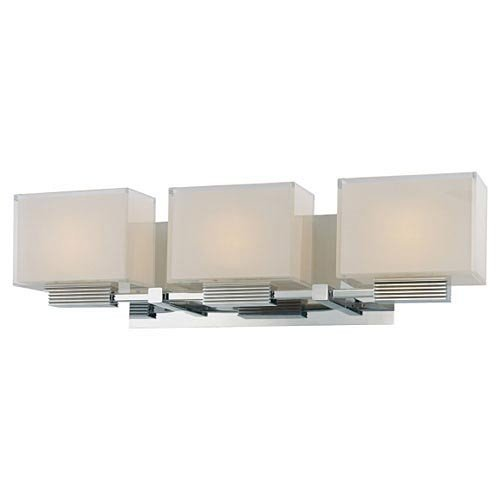 "Kovacs P5213 3 Light 21.5"" Bathroom Vanity Light In Chrome From The Cubism Colle, Chrome"