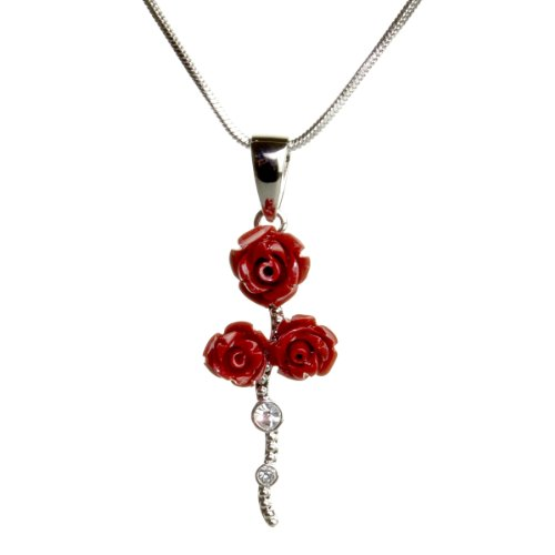 Lovely Triple Rose Pendant Necklace Fashion Jewelry