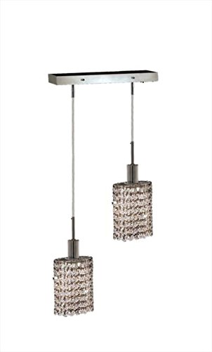 "Wiatt 2-Light 4.5""D Crystal Ceiling Pendant 1090D-O-E-Cl-Ss"