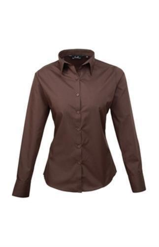 premier-womens-ladies-poplin-long-sleeve-blouse-plain-work-shirt-10-brown