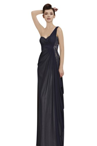 CharliesBridal Navy Blue Sweetheart One Shoulder Floor Length Evening Dress - XS - Navy Blue