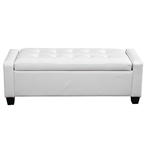 umax faux leather storage ottoman folding storage bench white furniture ottomans ottomans. Black Bedroom Furniture Sets. Home Design Ideas