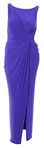 Women'S Sleeveless Matte Jersey Drape Evening Gown, Size 10, Purple