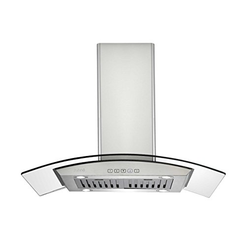 Zuhne iChorus 36 inch Kitchen Island Vented/ Ductless Stainless Steel Range Hood or Stove Vent with Energy Saving Touch Control & LED Lights (Stainless Steel Island Vent Hood compare prices)