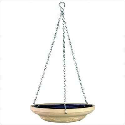 """Gardman BA01111 Glazed Ceramic Hanging Bird Bath/Feeder, Tan and Blue, 11"""" Wide x 21"""" High"""