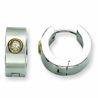 Genuine Chisel (TM) Earrings. Stainless Steel Satin w/ CZ & Gold-plated Hinged Hoop Earrings. 100% Satisfaction Guaranteed.
