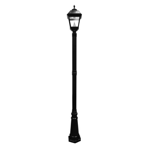 Gama Sonic Imperial Solar Lamp Post And Single Lamp Led Light Fixture With Acorn And Eagle Finials, 102-Inch Height, Black Finish #Gs-97S-Ge