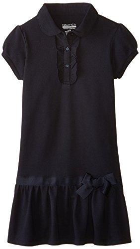 Nautica Little Girls' Pique Peterpan Dress with Ruffle, Su Navy, X-Large