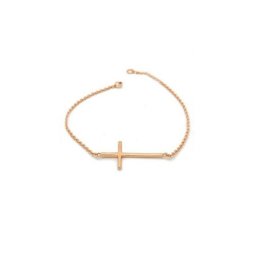 apop nyc 14k Rose Gold Vermeil Horizontal Cross Bracelet 7 inch
