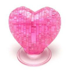 3D Jigsaw Puzzle, Cube Crystal Puzzle - Pink Heart, Gift Ideas
