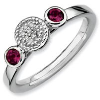 0.36ct Stackable Garnet & Diamond Ring Band. Sizes 5-10 Available
