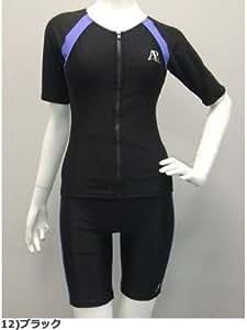 【bl-ap6622】パネル袖付き ハイウエスト セパレート【Active Piscine】 (12)ブラック, 15LL)
