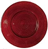 Red Swirl Pattern Glass Charger Plate, Set of 6