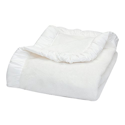 Trend Lab Marshmallow White Velour and Rouched Satin Receiving Blanket