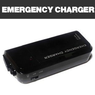No brand 【全2色】単三電池2本使用 USB充電器&LEDライト「携帯電話やスマートフォンの緊急充電に」USBケーブルを利用して充電 Emergency Charger ブラック (1426-1)