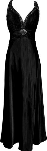 Twist Back Beaded Satin Formal Gown Junior Plus Size, 3X, Black
